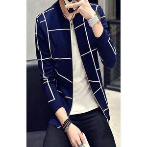 Navy Blue Zippered Jacket For Men