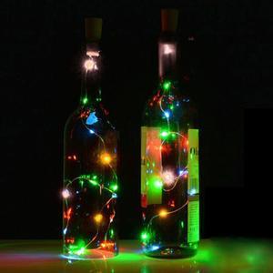 DuangDuang-2PCS 2M Solar Cork Wine Bottle Stopper Copper Wire String Lights Fairy Lamps