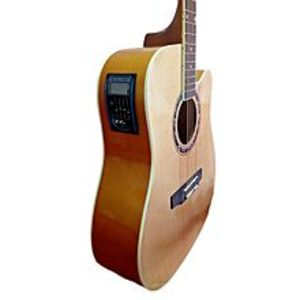 "Slash 40"" Semi Acoustic Guitar with Built in Tuner & 5 Band Equalizer - Natural Brown"