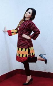 Printed Khaddar Stitched Kurta For Girls