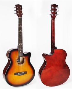 Sunburst 40 inch cutaway linden body acoustic guitar