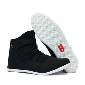 MD Black Fabric Zipper Sneakers For Men