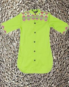 Parrot Green Cotton Embroidered Kurta For Girls - Gs-267