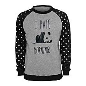 StreetstoreBlack and Gray Dots With Hate Mornings Printed Fleece Sweatshirts For Men