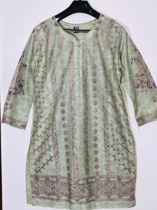Pista Green with Brown - Stylish Embroidered Shirt/Kurta For Women - Stitched