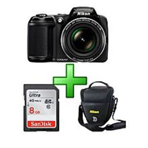 NikonNikon L340 - Coolpix - 20.2 MP - 28X - Digital Camera - Black+8GB CARD + V BAG