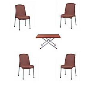 CHIEF(Boss) Set Of 4 Plastic Rattan Chairs And Folding Table- Brown