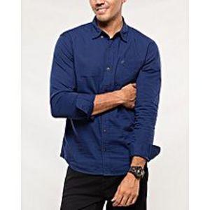 DenizenBlue Cotton Woven Shirt for Men