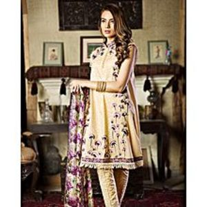 Nimsay Beige - Unstitched 3 Pcs Shirt Embroidered Lawn With Trouser  And Tissue Silk Dupatta