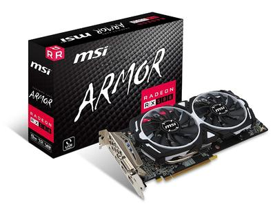 MSI AMD RX 580 ARMOR 8G OC 8 GB GDDR5 256-Bit Memory DVI/DP/HDMI PCI Express 3 Graphics Card (1Year Warranty)