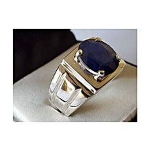 HAND MADE Natural Blue Sapphire Neelam Hand Made Ring For Men