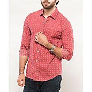DenizenTea Pink Cotton Night Heather L/S Woven Shirt Special Online Price