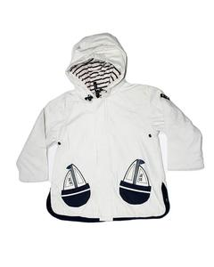 Stylish White Printed Zipper Hoodie Jacket for Boy