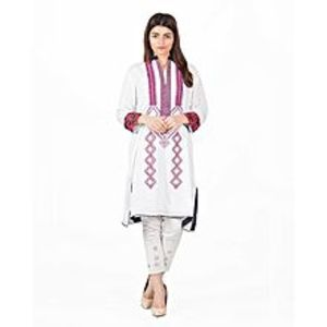 Fashion Café White & Magenta Malai Embroidered Kurta for Women - 1 piece