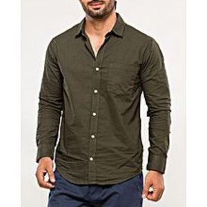 DenizenArmy Green Cotton Woven Shirt for Men Special Online Price