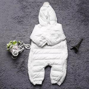 Newborn Baby Rompers Winter Thermal Warm Hooded Snowsuit Jumpsuit Cute white 18