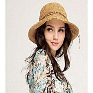 Shopping TradersBrown Foldable Big Beach Edge Sun Hat