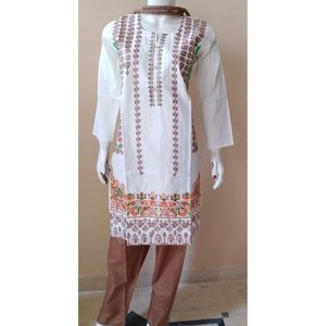 White Net Embroidered Kurti For Women