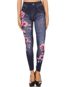 Pink Flowers Print Legging/Tights For Women - Jtl-021