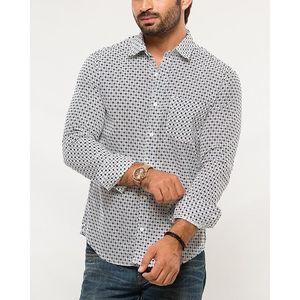 Denizen Navy Blue Cotton Woven Printed Shirt for Men