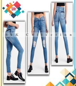 Denim Faded Straight Leg Jeans For Women