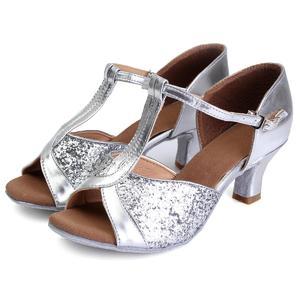 5CM Women Lady's Girl Ballroom Latin Tango Salsa Tango Dance Shoes Heeled Stilettos SILVER