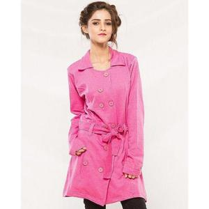 Pink Cotton Button Style Long Coat With Front Pocket For Women