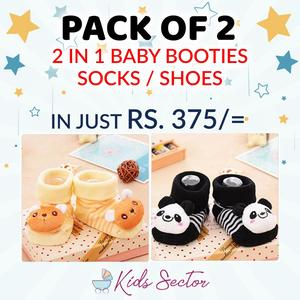 Pack of 2 - Winter Collection 2 in 1 Baby Socks and Shoes - Kids Toddlers Booties 0 - 12 month