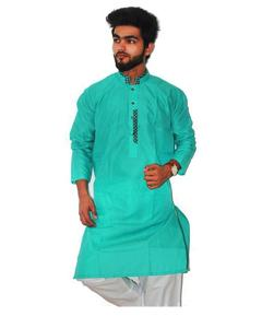 Sea Green Stitched Kurta For Men