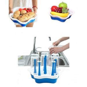 2-in-1 Fruit/Vegetable Water Drainer Basket + Glass Stand / Organizer For Kitchen