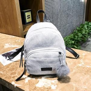 Girl Hairball Corduroy School Bag Student Backpack Satchel Travel Shoulder Bag