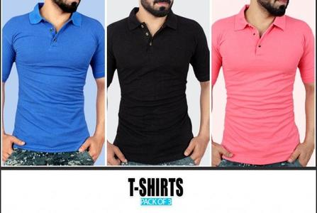 Pack Of 3 Plain Polo T-Shirts