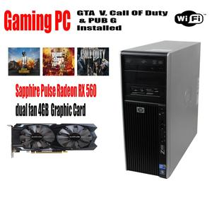 HP Z400 Gaming  PC- Intel Xeon Quad Core Max turbo Upto 3.46 GHz - 16GB Ram - 1TB  Hard drive - 128 GB SSD -  WIFI -RX 560 4GB DDR5 Graphic card 3 Games Installed