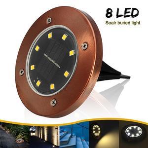 Solar Powered 8 LED Buried Inground Light Garden Outdoor Deck Path Bronze