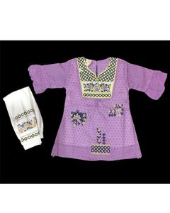 Purple Fancy Embroidered Kurti With White Printed Tights For Girls