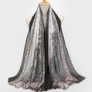Women Fashion Cotton  Pearl Oversized Embroidery Shawl Headband  Pashmina