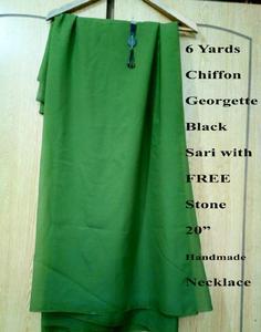 "6 Yards Chiffon Georgette Green Sari with FREE Blouse & 20"" Matching Stone Necklace Daraz pk"