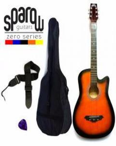 Spzero Beginners Acoustic Folk Cutaway Guitar 38 Inch (Sunburst) Free Bag/Strap/Pick