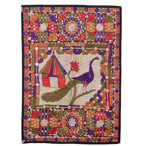 MerkaKraft Traditional Wall Hanging - PeacockHand Made-Multi Color