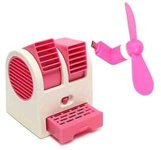 Mini USB Fan and Battery Powered Mini Portable Dual Blower Desk Table Air Cooler Fan Dual Blade-Less with Mini Portable Mobile Fan Mini Electric Fan USB2.0 Phone Fan OTG USB Electric Fan