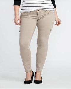 Beige Cotton Slim Fit Jeans For Women