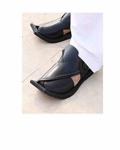 Milano Mall Black Pure Leather Peshawari Sandals for Men