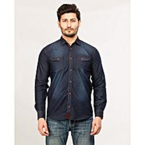 Daraz Fashion Navy Blue Men's Long Sleeve denim shirt