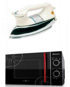 Pack of 2 - Microwave Oven + Heavy Duty Iron - Black & White