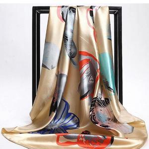 Women's Fashion Flower Imitated Silk Long Wrap Scarf Soft Shawl Charm Gift