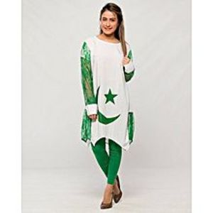 AH Collection Pakistan Green & White Cotton & Net 14 August Suit For Women