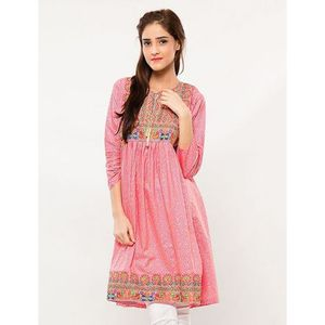 Mardaz Pink Cotton Embroidered Kurti For Women