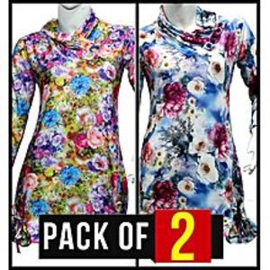 ZewraatPack Of 2 - Multicolor Stretchable Shirt For Women