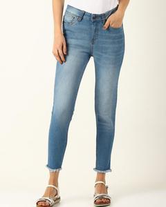 Blue Cotton Slim Fit Jeans For Women