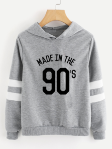 Fifth Avenue Made In The 90s Varsity Sleeve Striped Hoodie - Heather Grey